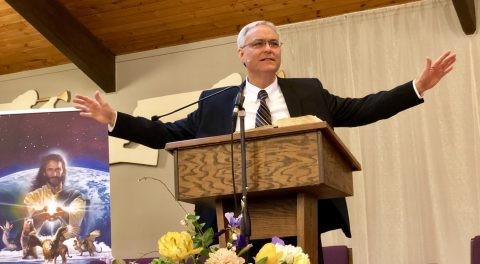 "Elder Micheff delivers the sermon, entitled, ""Connecting to Gospel Power."""